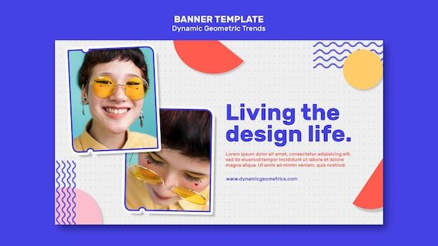 Tendencias geométricas en banner de diseño gráfico con foto.