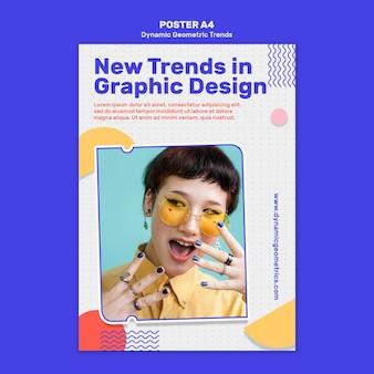 Tendencias geométricas en la plantilla de póster de diseño gráfico con foto