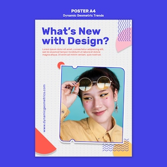 Tendencias geométricas en la plantilla de póster de diseño gráfico