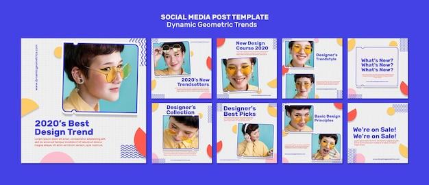 Tendencias geométricas en publicaciones de redes sociales de diseño gráfico