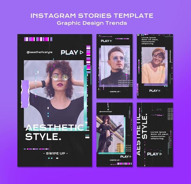 Tendenze del design grafico storie di instagram