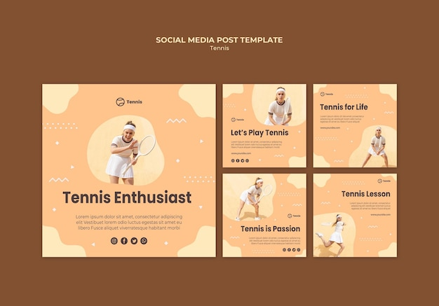 Tennis concept sociale media post