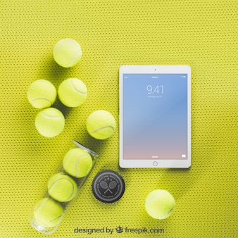 Tennismodel met tablet