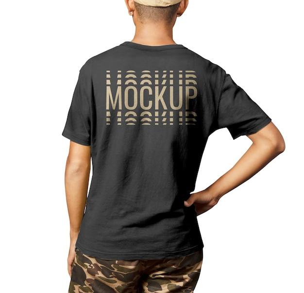 Terug knappe man shirt mockup mode