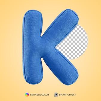 Terug naar school concept alfabet kussen letter k vorm