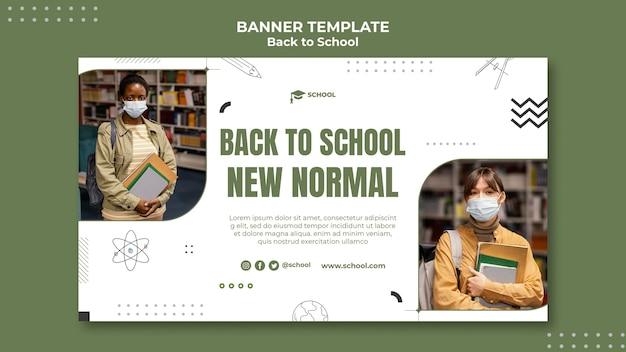 Terug naar school nieuwe normale bannersjabloon