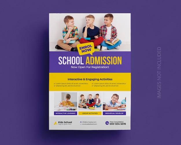 Terug naar school onderwijs toelating flyer sjabloon