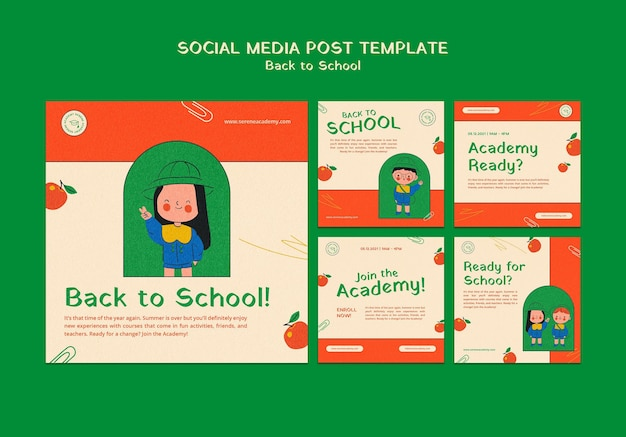 Terug naar school posts op sociale media Gratis Psd
