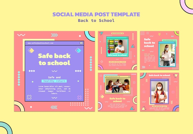 Terug naar school posts op sociale media