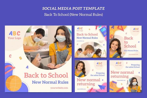 Terug naar school postsjabloon voor sociale media