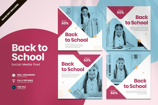 Terug naar school sjabloon voor sociale media Premium Psd