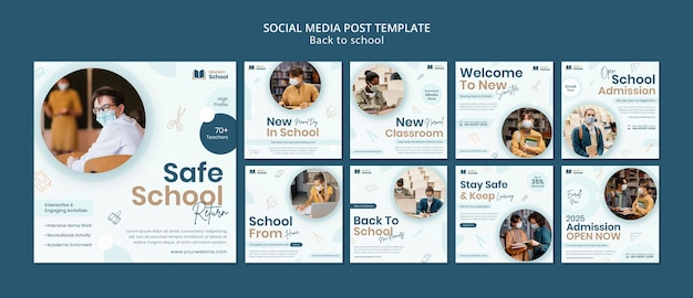 Terug naar school social media posts pack