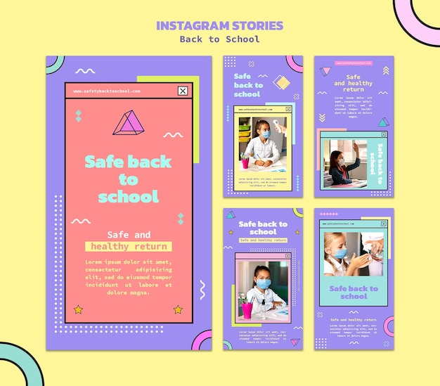 Terug naar school sociale media verhalen