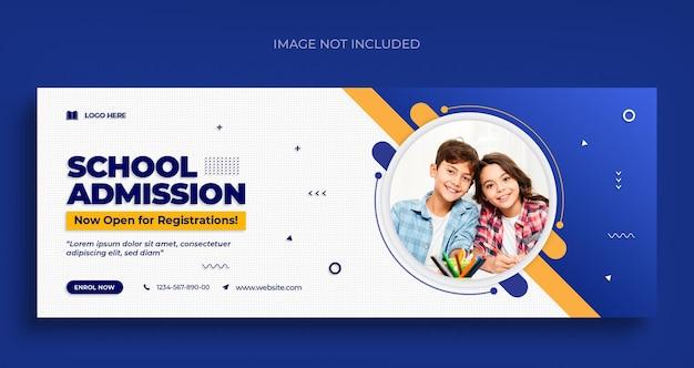 Terug naar school sociale media webbanner-flyer en facebook-omslagfoto ontwerpsjabloon