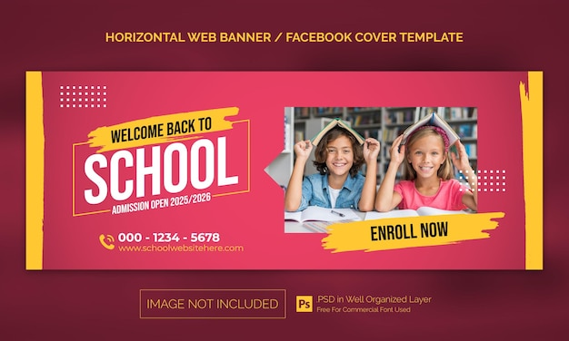 Terug naar school toelating horizontale banner of facebook-omslagadvertentiesjabloon