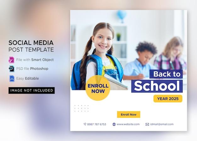 Terug naar school toelating marketing social media post of vierkante flyer-sjabloon premium psd Premium Psd