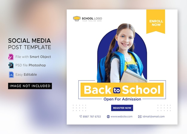 Terug naar school toelating marketing social media post of vierkante flyer-sjabloon premium psd