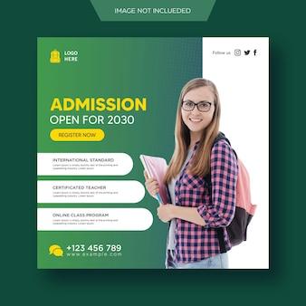 Terug naar school toelating onderwijs sociale media post en flyer webbannersjabloon premium psd