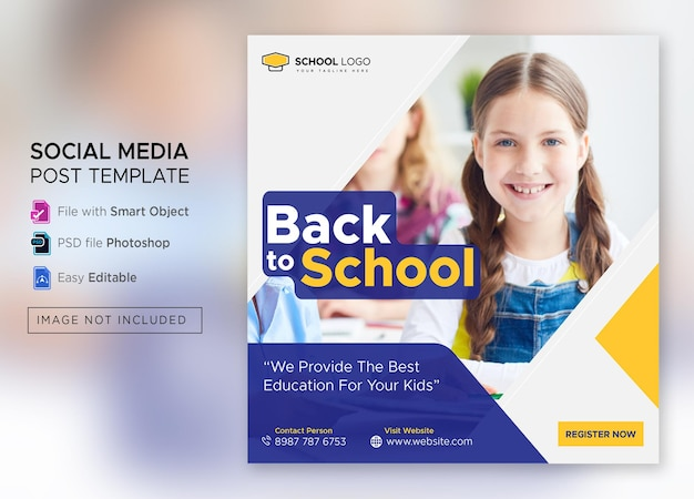 Terug naar school toelating social media post of vierkante flyer sjabloon premium psd
