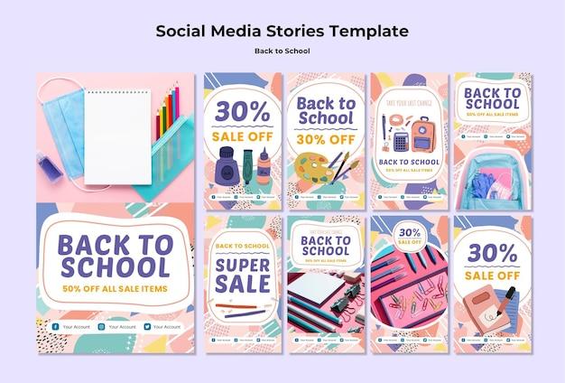 Terug naar school verhalen over sociale media