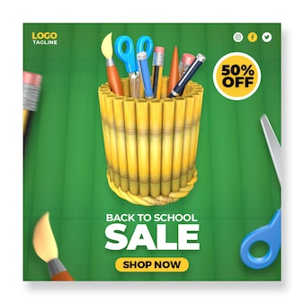 Terug naar school verkoop sociale media instagram post-bannersjabloon met 3d-elementen