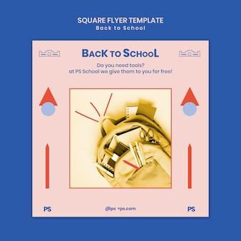 Terug naar school vierkante flyer