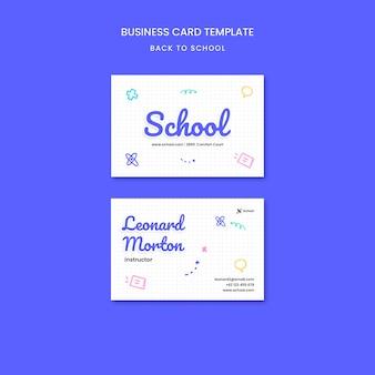 Terug naar school visitekaartje