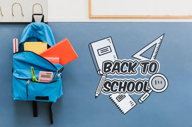 Terug naar schooltas vol met benodigdheden