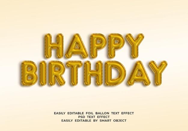 Testo di buon compleanno in stile palloncino 3d