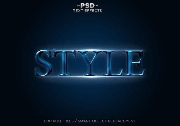 Testo modificabile degli effetti di stile blu 3d
