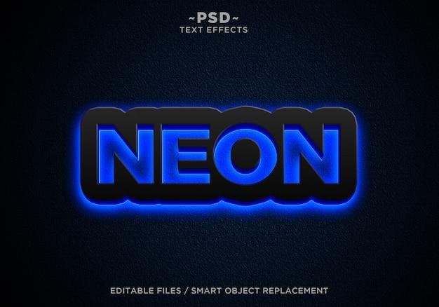Testo modificabile di effetti al neon blu blu
