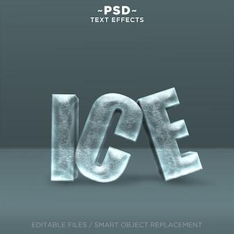 Testo modificabile di effetti di ghiaccio realistici 3d