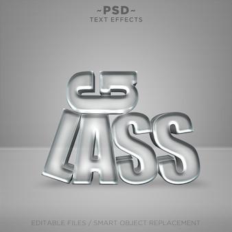 Testo modificabile di effetti di vetro realistici 3d