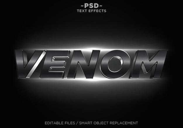 Testo modificabile di effetti veleno nero cinematografico 3d