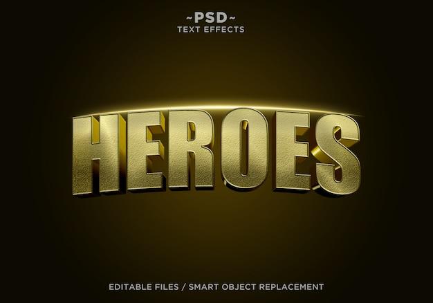 Testo modificabile di effetto cinematografico 3d golden heroes