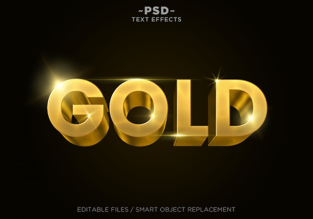 Testo modificabile in 3d gold style 4 effetti