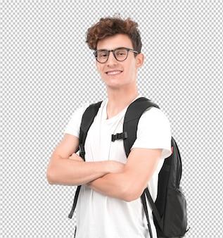 Tevreden jonge student poseren