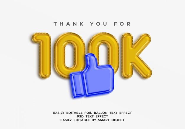 Texto de 100k seguidores en estilo globo 3d