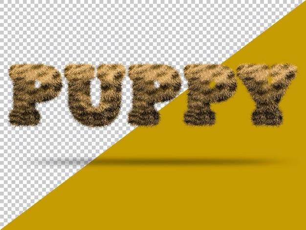 Texto de cachorro con piel 3d realista
