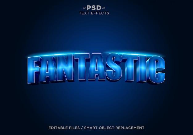 Texto editable de efecto fantástico azul 3d