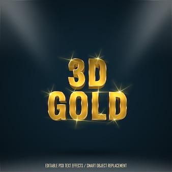 Texto editable del efecto del oro 3d 1