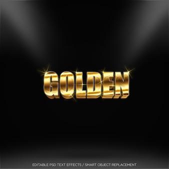 Texto editable del efecto realista de oro 3d