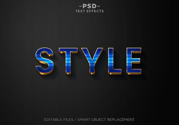 Texto editable de efectos de estilo azul 3d
