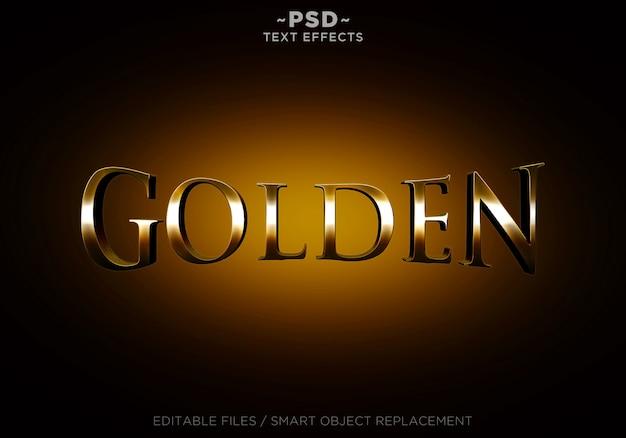 Texto editable de efectos de estilo dorado 3d