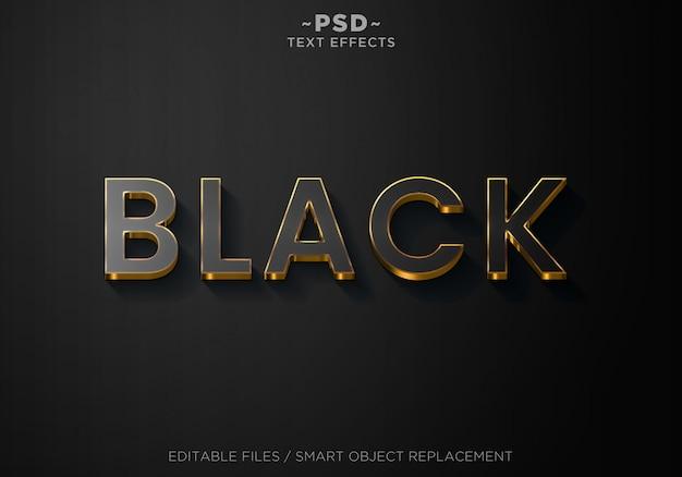 Texto editable de efectos de estilo negro 3d