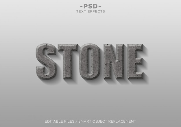 Texto editable de efectos de estilo de piedra 3d
