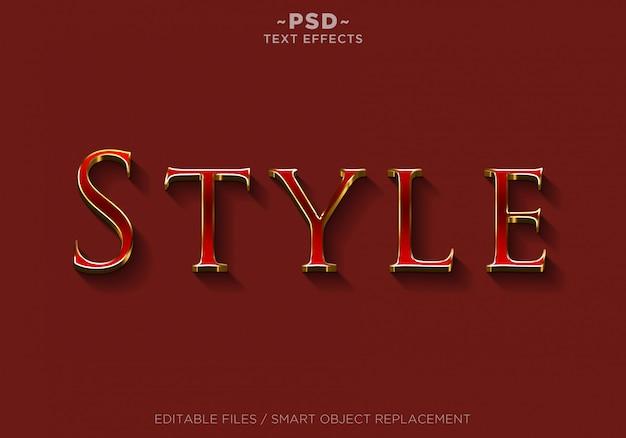 Texto editable de efectos de estilo rojo 3d