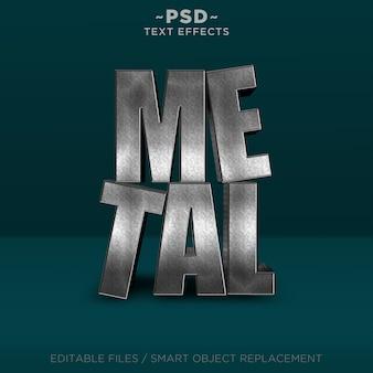 Texto editable de efectos de metal realistas 3d