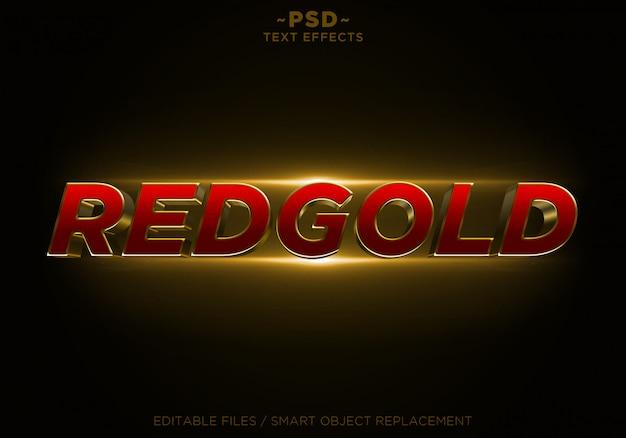 Texto editable de los efectos de oro del brillo de redgold 3d