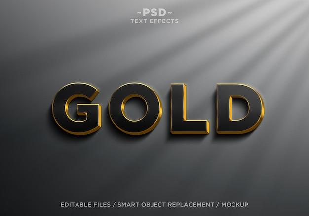 Texto editable de efectos de oro negro realista 3d